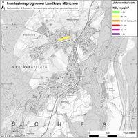 Karte: Immissionsprognosen Landkreis München, Luftqualität Schäftlarn, Jahresmittelwert Stickstoffdioxid