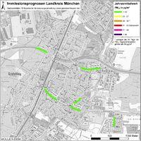 Karte: Immissionsprognosen Landkreis München, Luftqualität Gräfelfing, Jahresmittelwert Feinstaub (PM10)
