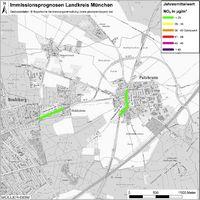 Karte: Immissionsprognosen Landkreis München, Luftqualität Putzbrunn, Jahresmittelwert Stickstoffdioxid