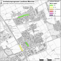 Karte: Immissionsprognosen Landkreis München, Luftqualität Kirchheim, Jahresmittelwert Stickstoffdioxid