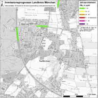 Karte: Immissionsprognosen Landkreis München, Luftqualität Taufkirchen, Jahresmittelwert Feinstaub (PM10)