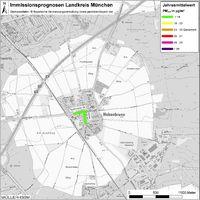 Karte: Immissionsprognosen Landkreis München, Luftqualität Hohenbrunn, Jahresmittelwert Feinstaub (PM2,5)