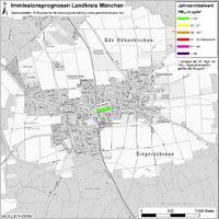 Karte: Immissionsprognosen Landkreis München, Luftqualität Höhenkirchen-Siegertsbrunn, Jahresmittelwert Feinstaub (PM10)