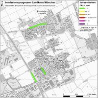 Karte: Immissionsprognosen Landkreis München, Luftqualität Kirchheim, Jahresmittelwert Feinstaub (PM10)
