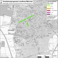 Karte: Immissionsprognosen Landkreis München, Luftqualität Ottobrunn, Jahresmittelwert Feinstaub (PM10)