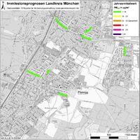 Karte: Immissionsprognosen Landkreis München, Luftqualität Planegg, Jahresmittelwert Feinstaub (PM2,5)