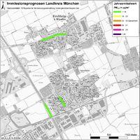 Karte: Immissionsprognosen Landkreis München, Luftqualität Kirchheim, Jahresmittelwert Feinstaub (PM2,5)