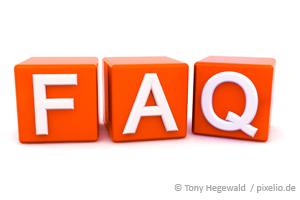 Foto: Drei Würfel mit den Buchstaben FAQ