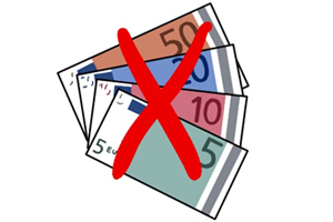 Bild: Geldscheine durchgestrichen