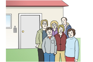 Bild: Menschen vor Haus