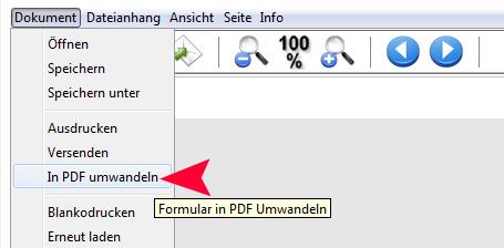 Screenshot: Formular im PDF-Format archivieren
